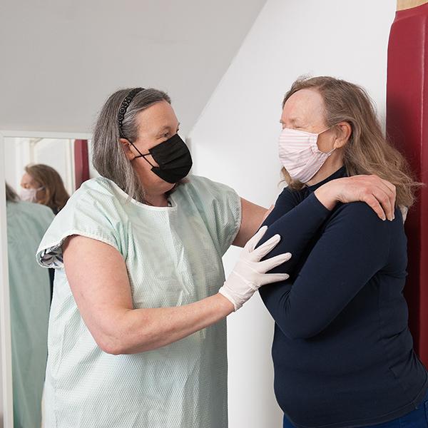 Liz with a patient